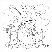 Bunny found a lot of carrots in the forest Coloring Page