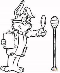 Bunny uses magnifying glass to expertise an easter egg Coloring Page
