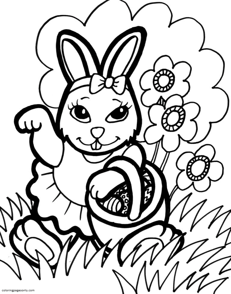 Bunny In Spring Coloring Page