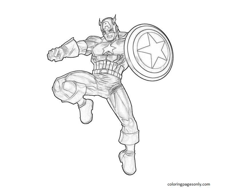 Captain America 12 Coloring Page