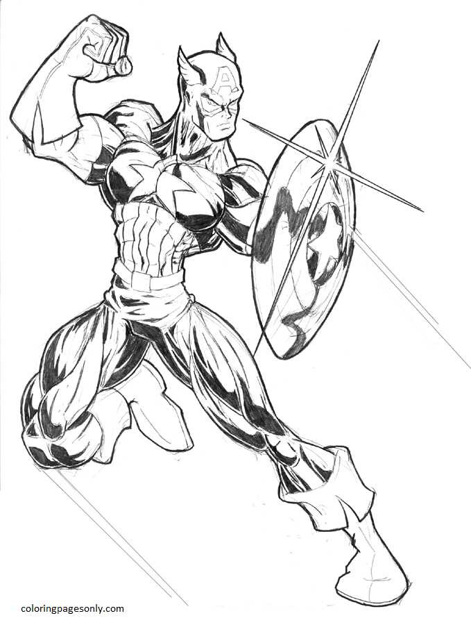 Captain America 15 Coloring Page