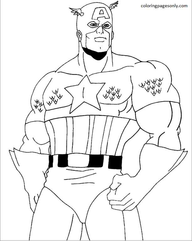 Captain America 16 Coloring Page