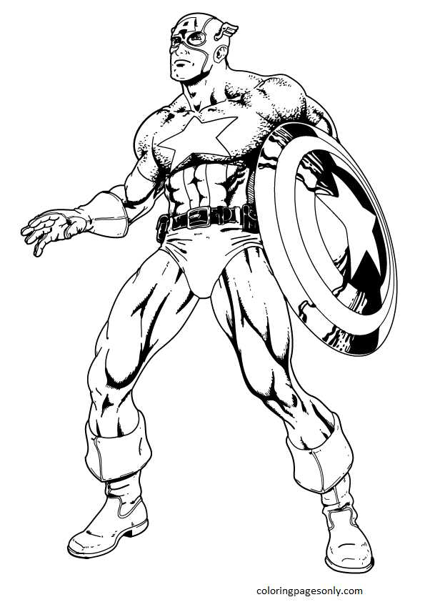 Captain America 17 Coloring Page