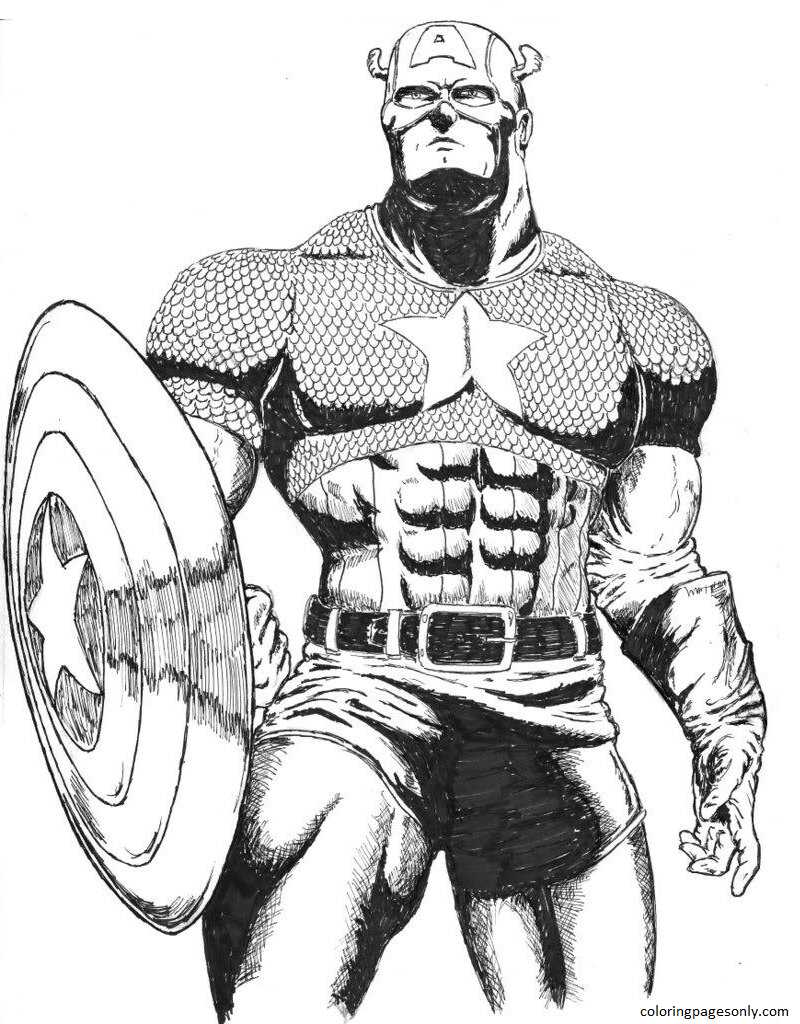 Captain America 19 Coloring Page