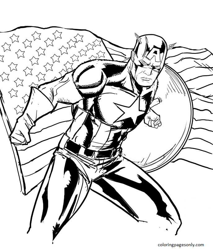 Captain America 21 Coloring Page