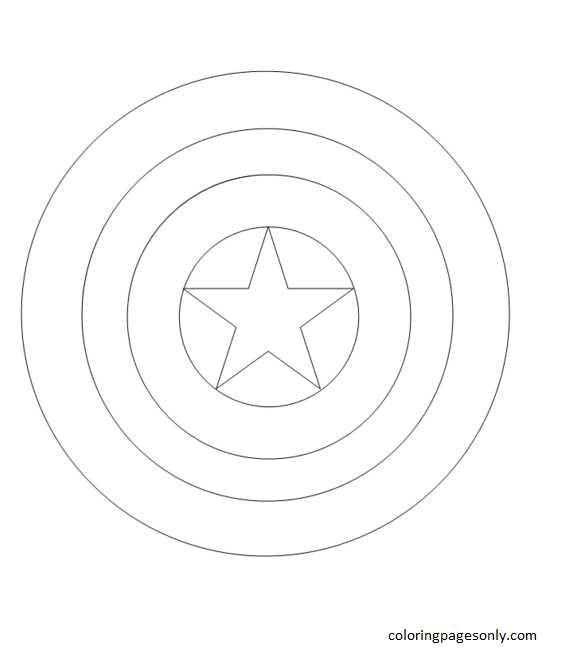 Captain America Shield Coloring Page