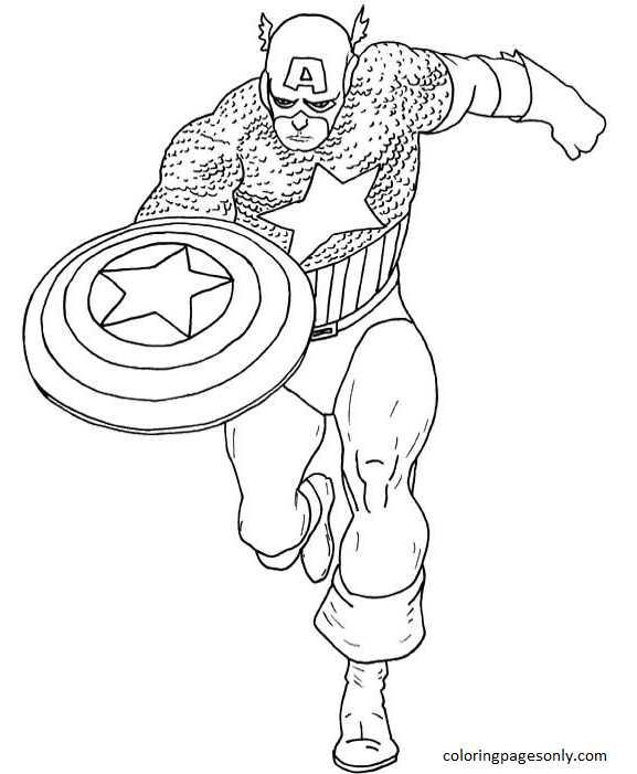 Captain America Super Hero Coloring Page