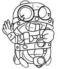 Brawl Stars Carl waves his right hand Coloring Page
