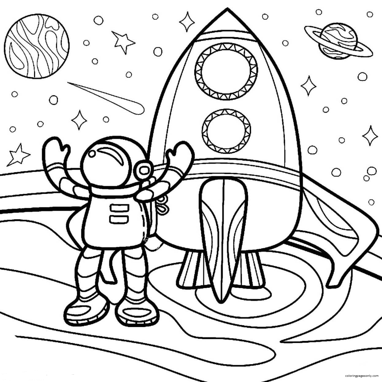 Cartoon Astronaut with Rocket 1 Coloring Page