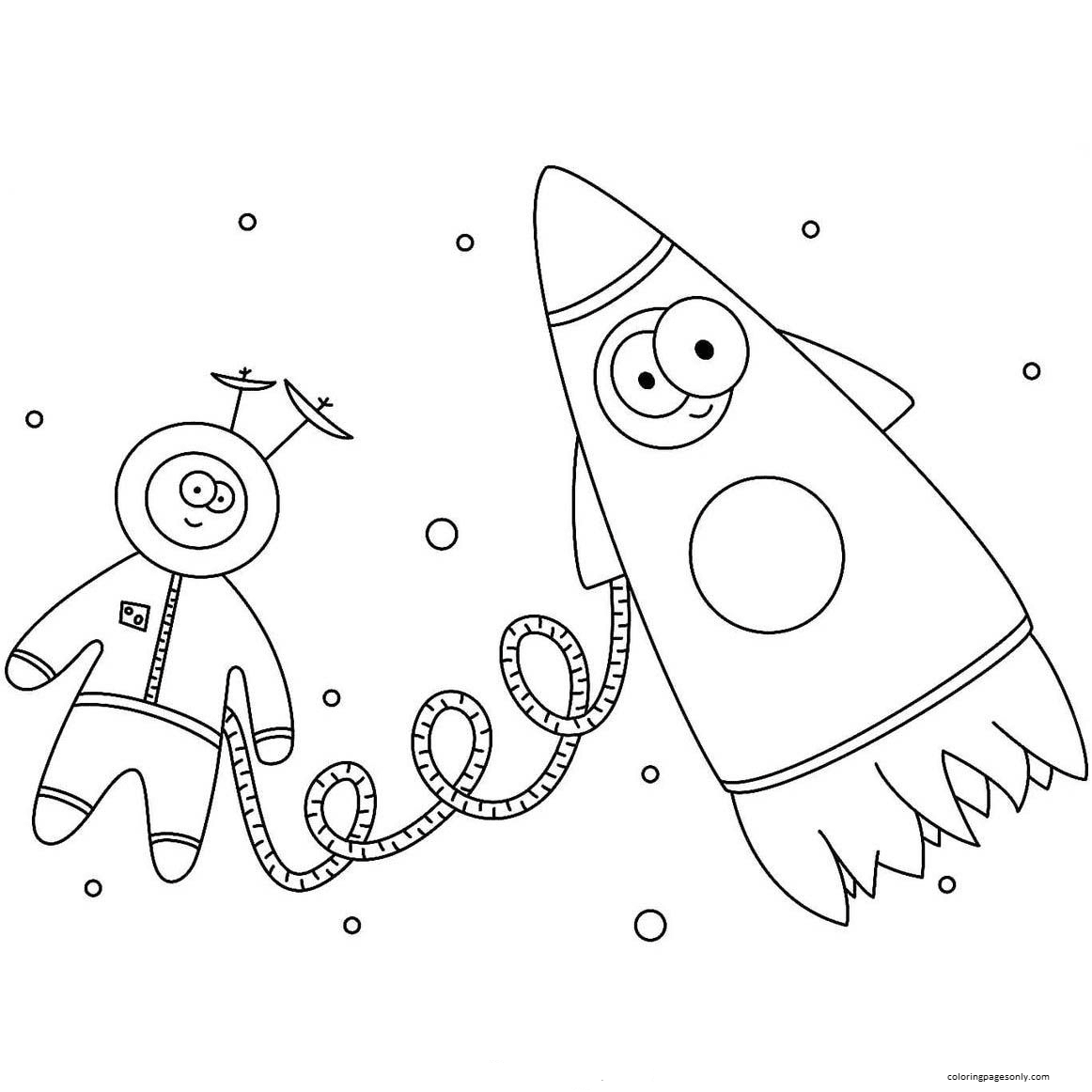 Cartoon Astronaut with Rocket Coloring Page