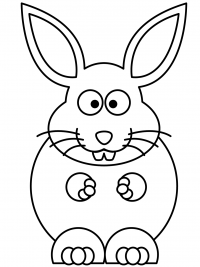 Cartoon bunny has big body Coloring Page