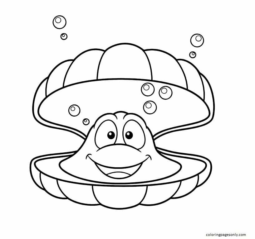 Cartoon Clam Coloring Page