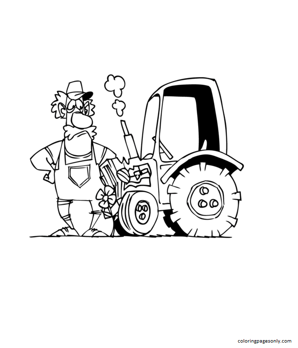 Cartoon Farmer and His Tractor Coloring Page