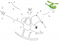 Connect the dots cartoon helicopter for baby boys Coloring Page