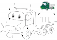 Conect the dots cartoon lorry Coloring Page