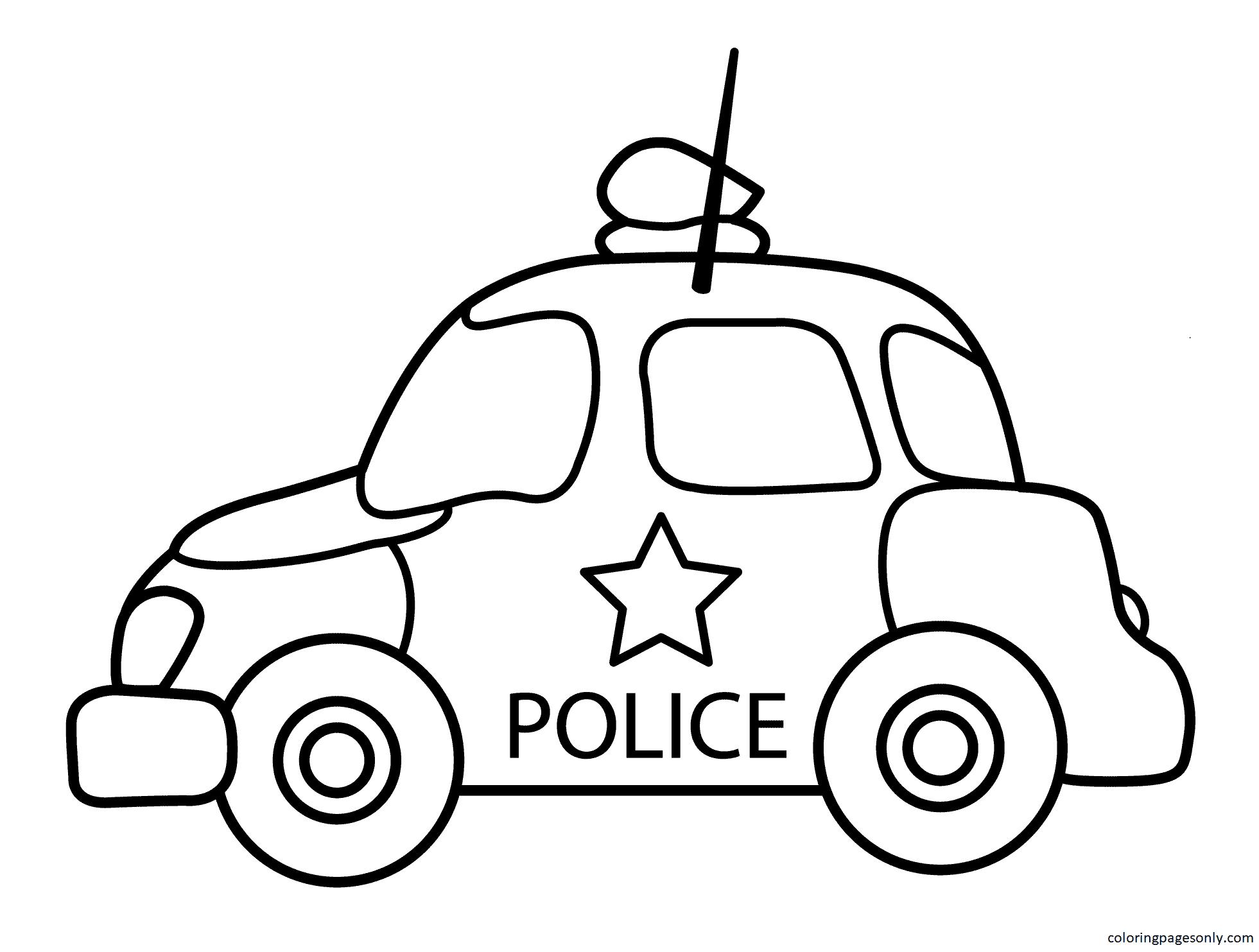 Cartoon Police Car Coloring Page