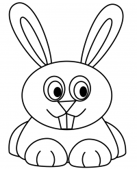 Silly cartoon rabbit has two incisors teeth on the top Coloring Page