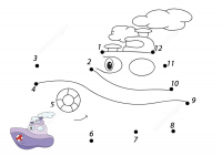 Connect the dots cartoon steamship with sample Coloring Page