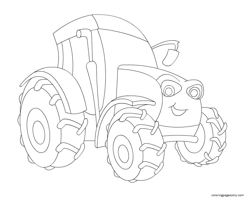 Cartoon Tractor 1 Coloring Page