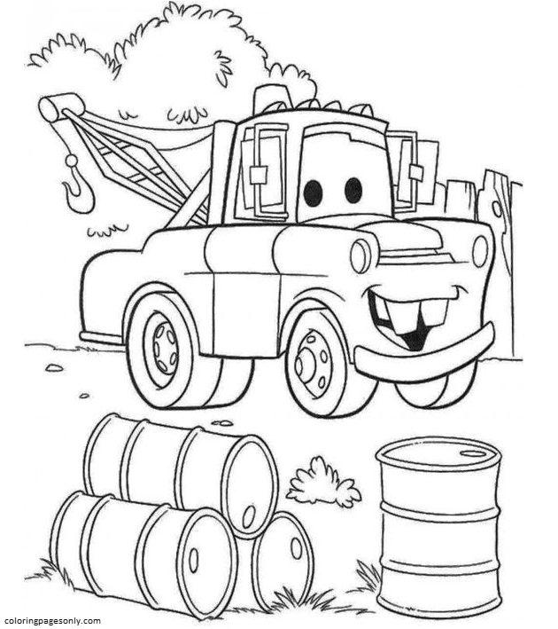 Cartoon Tractor 2 Coloring Page