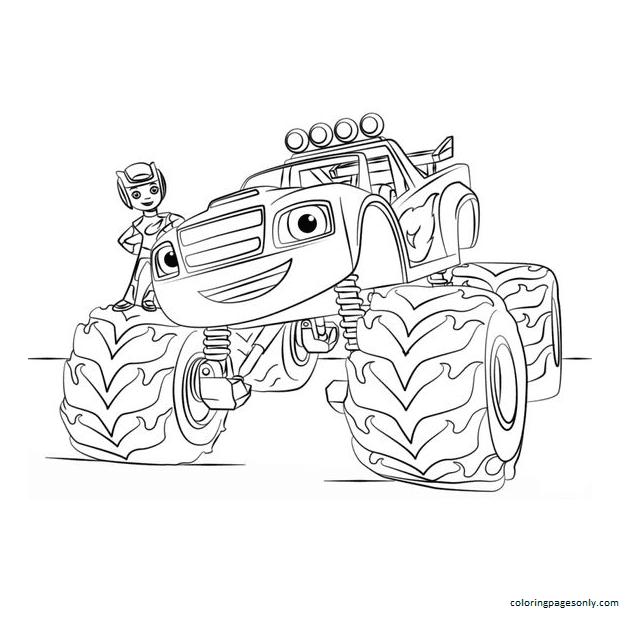 Cartoon Tractor 3 Coloring Page