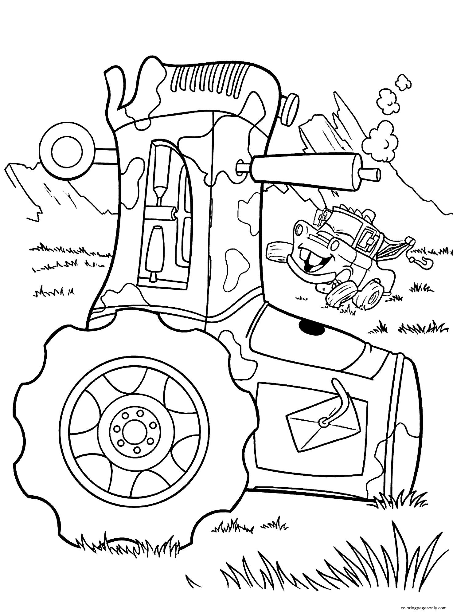 Cartoon Tractor 4 Coloring Page