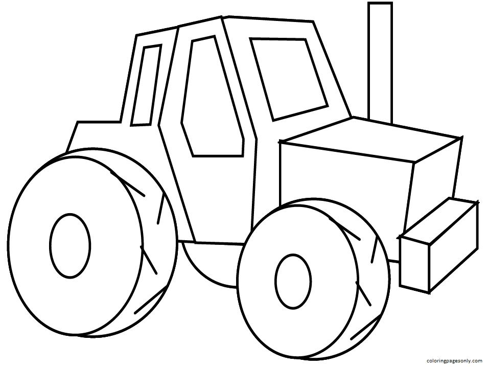 Cartoon Tractor Coloring Page