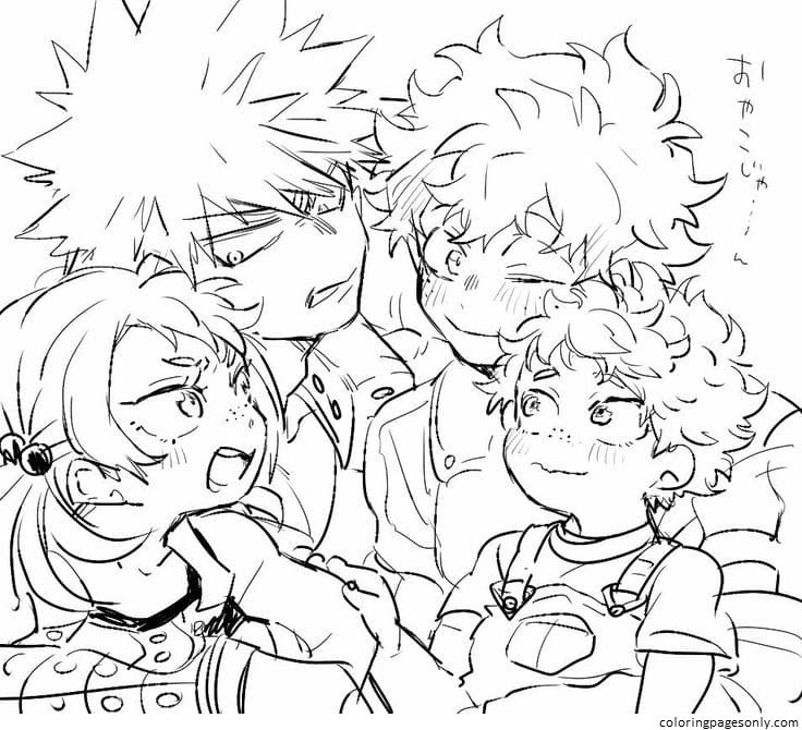 Characters from the anime My Hero Academia Coloring Page