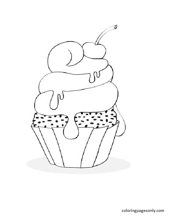 Cherry Cupcake Coloring Page