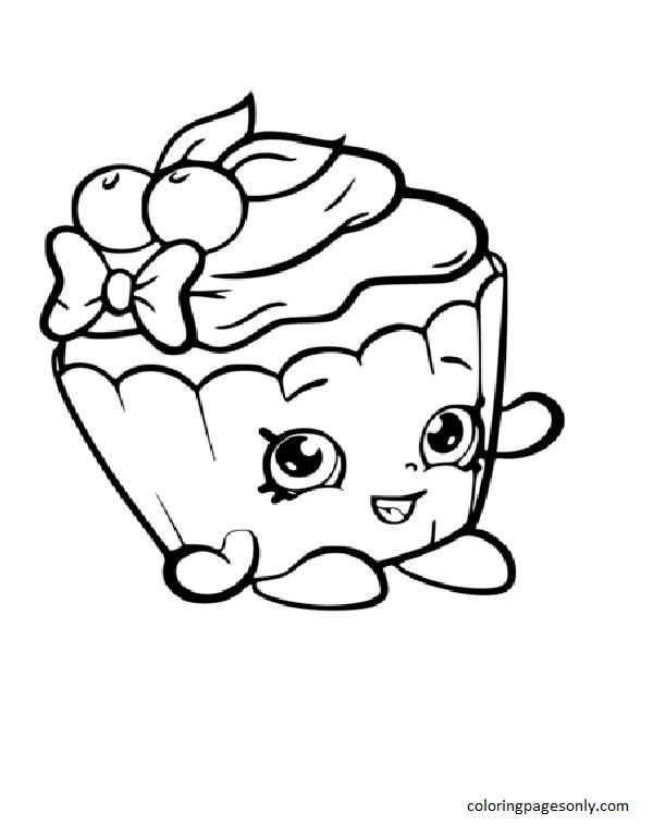 Cherry Nice Cupcake Shopkin Coloring Page
