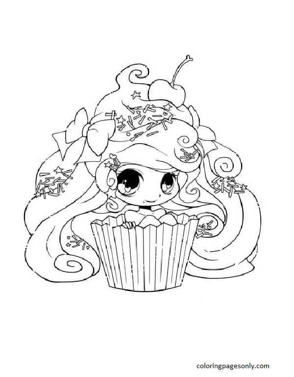 Chibi Cupcake Girl Coloring Page