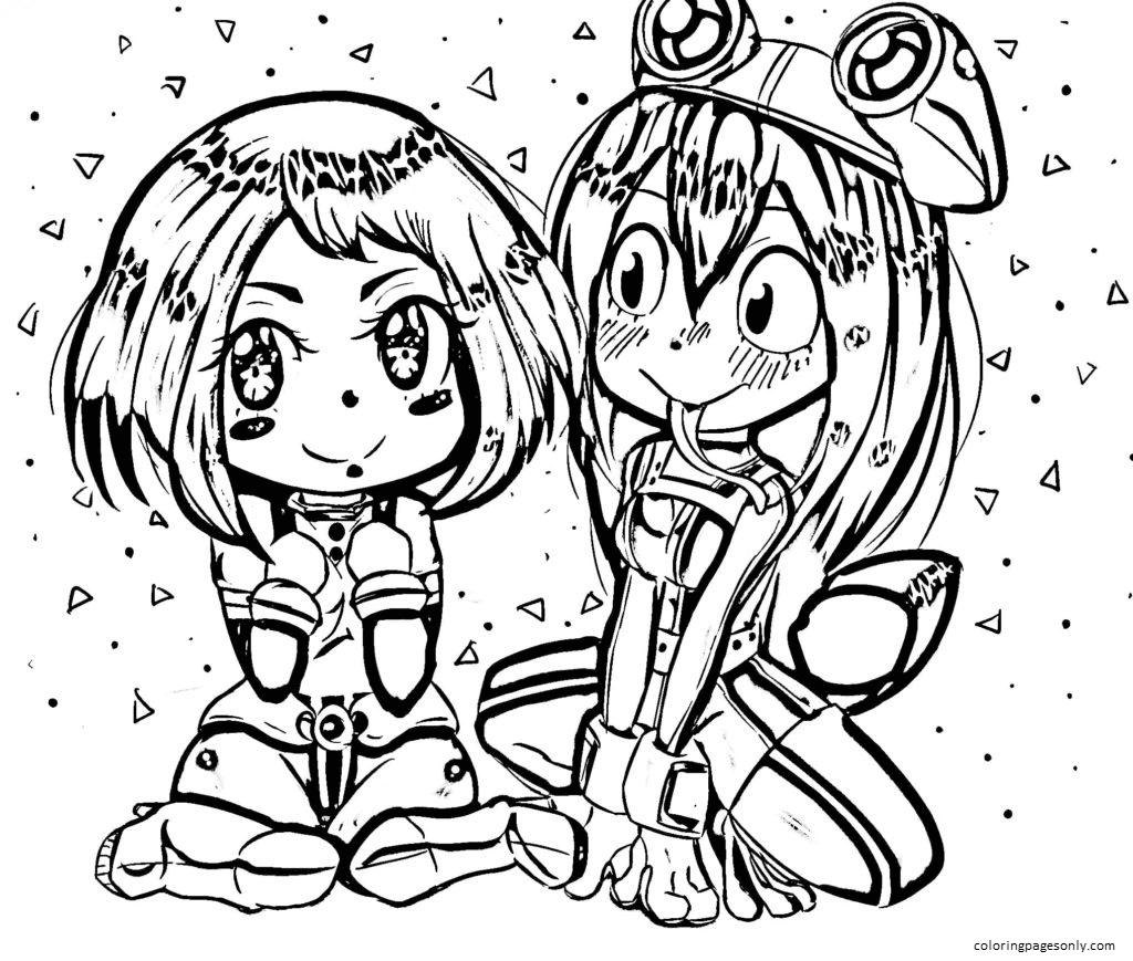 Chibi Ochako Uraraka and Tsuyu Asui Coloring Page