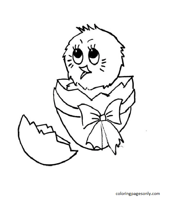 Chick Hatching from Egg Coloring Page