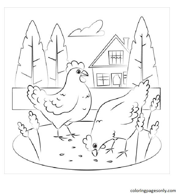 Chicken 3 Coloring Page