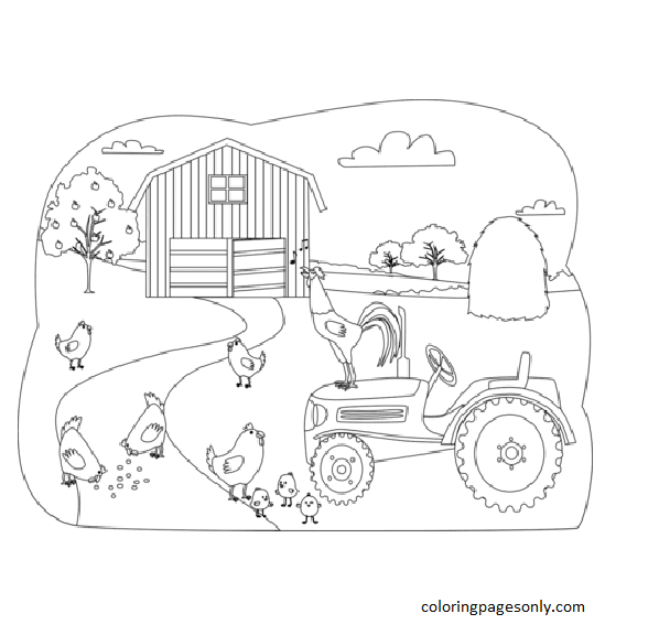 Chickens on the Farm Coloring Page