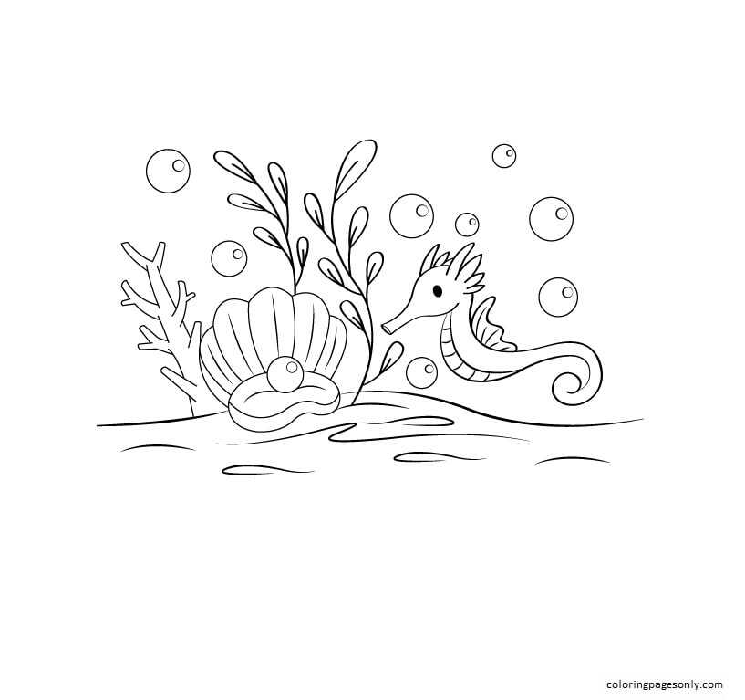 Clam And Seahorse Coloring Page
