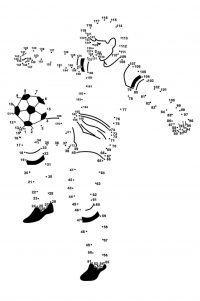 Connect the dots player soccer plays with ball Coloring Page