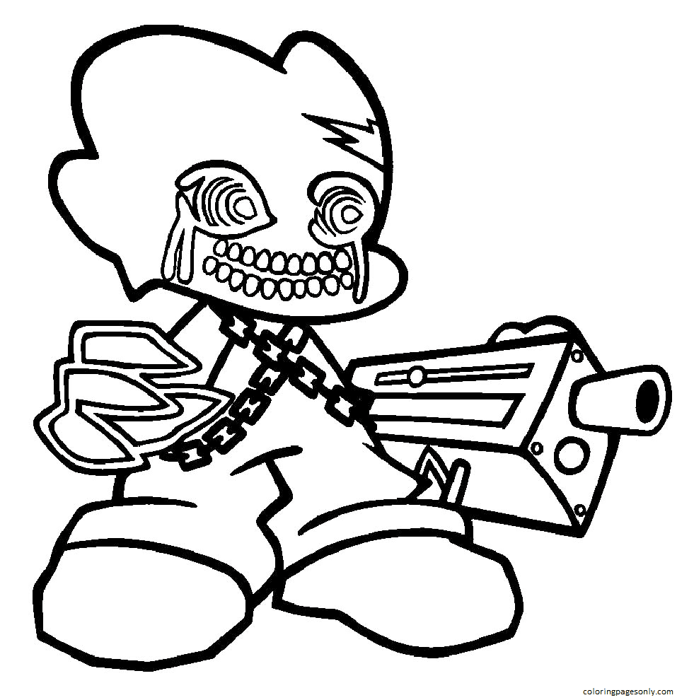 Corrupted Pico Friday Night Funkin Coloring Page