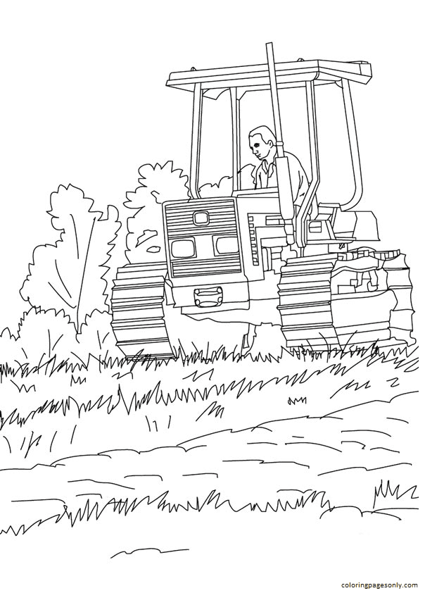 Crawler Tractor Coloring Page