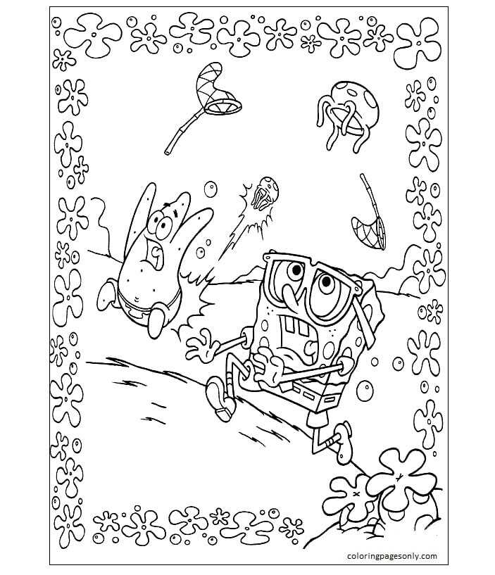 Crazy Jellyfishes Coloring Page