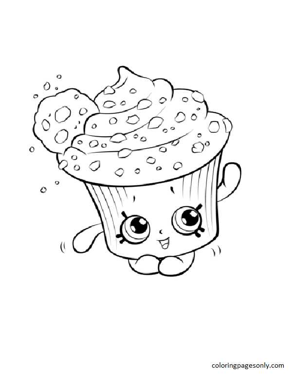 Creamy Cookie Cupcake Shopkin Coloring Page