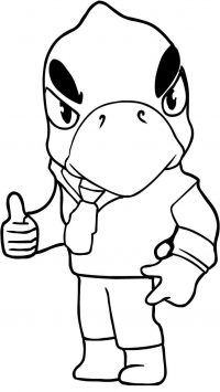 Brawl Stars Crow shows his finger Coloring Page