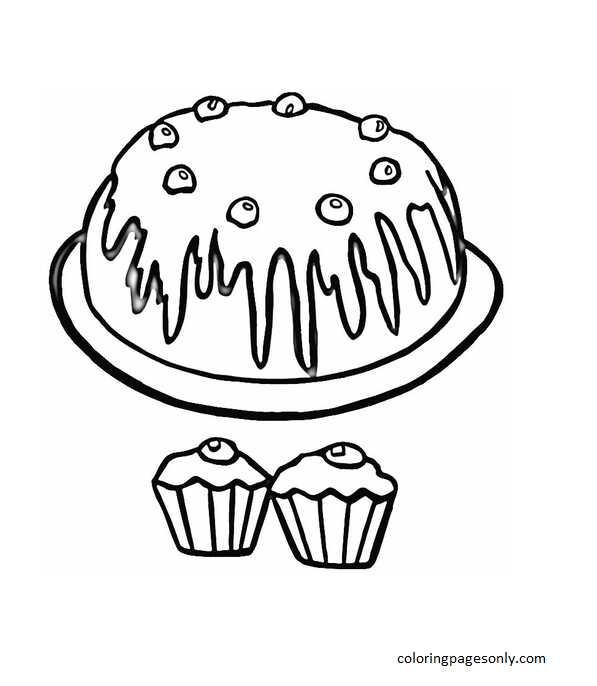 Cupcake 2 Coloring Page