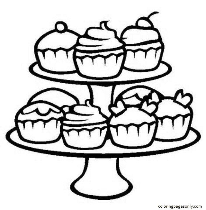 Cupcake 3 Coloring Page