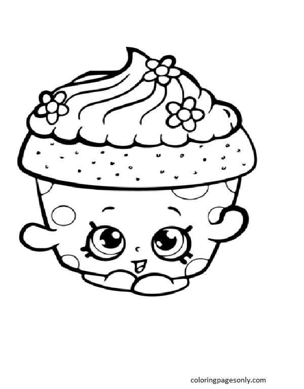 Cupcake Petal Shopkin Coloring Page