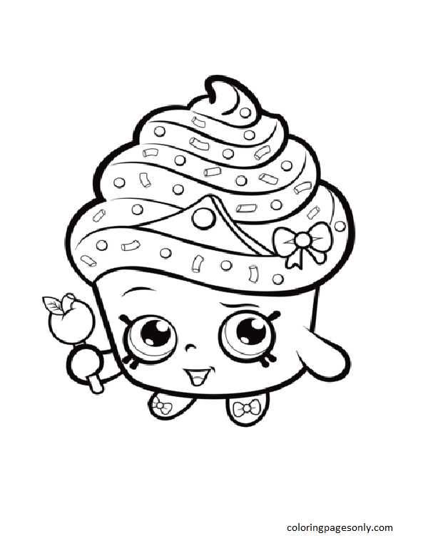 Cupcake Queen Shopkin Coloring Page