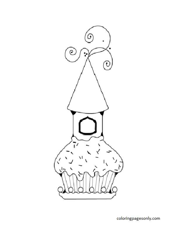 Cupcake with Castle Coloring Page