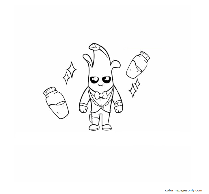 Cute Agent Peely Coloring Page