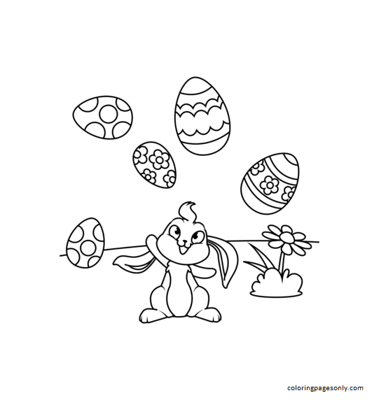 Cute Bunny Juggling Easter Eggs Coloring Page