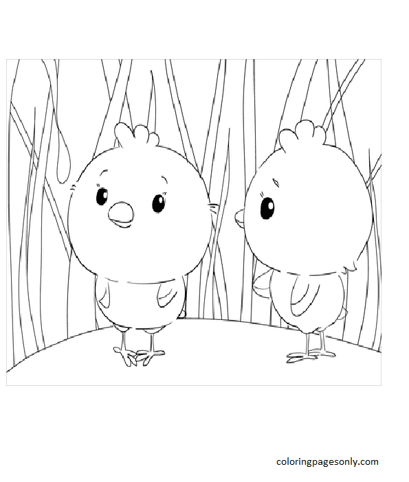 Cute Chicks Coloring Page
